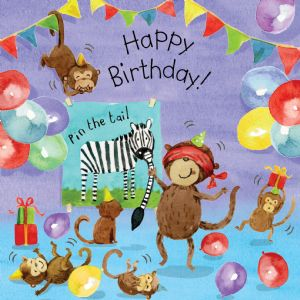 TOT11  Monkey Birthday Card For Children